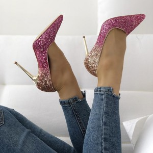 Pink and Gold Glitter Stiletto Heels Evening Shoes