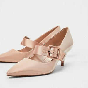 Pink Buckle Mary Jane Pumps Pointy Toe Kitten Heels Vintage Shoes