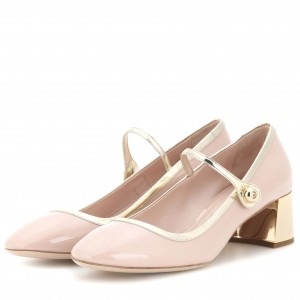 Blush Buckle Mary Jane Pumps Patent Leather Block Heels Vintage Shoes