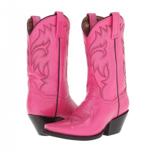 Pink Chunky Heels Cowgirl Boots Square Toe Ankle Booties