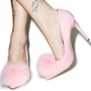 Pink Cute Pom Pom Shoes Pointy Toe Stiletto Heel Pumps