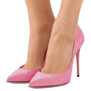 Pink Glitter Shoes Stiletto Heel Pumps