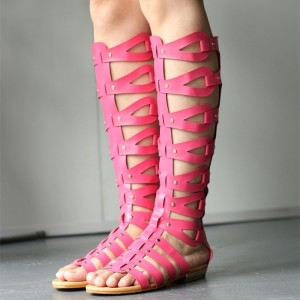 Pink Hollow out Gladiator Sandals Open Toe Flats Knee-high Sandals