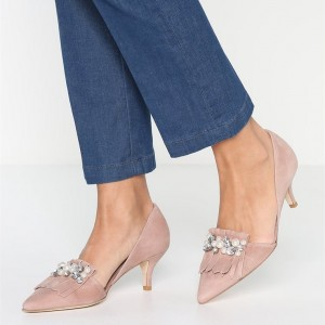 Pink Kitten Heels Pointed Toe Rhinestone Pumps with Fringe