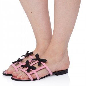 Pink Cute Suede Women's Slide Sandals Open Toe Flat Black Bow Sandals