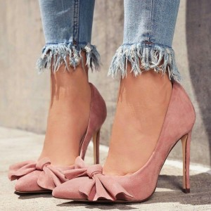 Pink Pointy Toe Bow Heels Suede Stiletto Heel Pumps