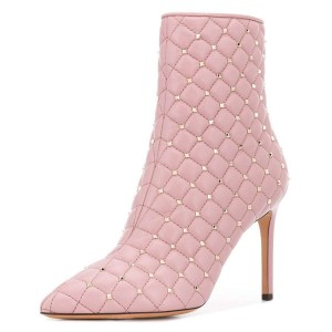 Pink Quilted Ankle Booties Studs Shoes Pointy Toe Stiletto Boots