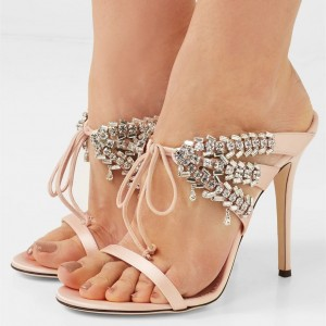 Pink Rhinestone Mule Stiletto Heels Sandals Evening Shoes