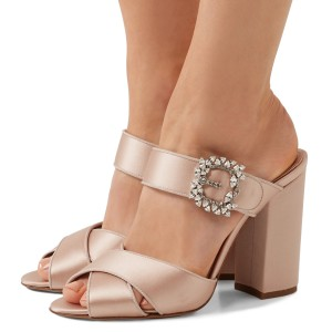 Blush Satin Wedding Heels Peep Toe Block Heel Mule Sandals