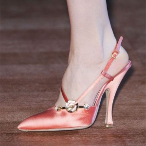 Pink Satin Slingback Pumps Pointed Toe Spool Heels for Women