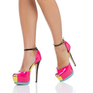Hot Pink Stiletto Heels Ankle Strap Sandals Peep Toe Heels