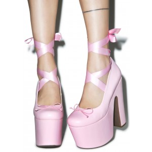 Pink Stripper Heels Lace up Chunky Heel Pumps with Platform