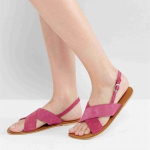 Pink Suede Cross over Slingback Shoes Flats Sandals
