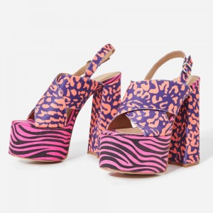 Pink and Blue Suede Platform Slingback Block Heel Sandals