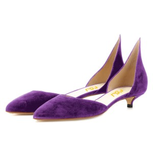 Purple Kitten Heels Pointy Toe Pumps Suede Shoes