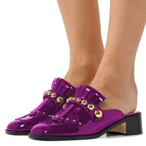 Purple Mirror Leather Fringe Studs Loafer Mules