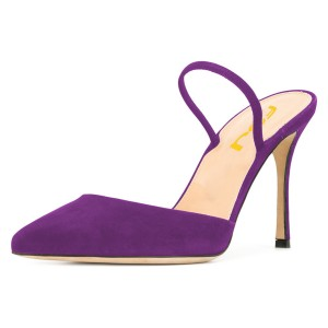 Purple Pointy Toe Mule Stiletto Heels Sandals for Women