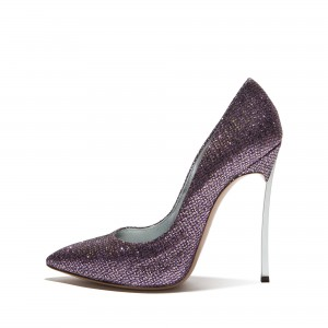Purple Sparkly Glitter Shoes Pointy Toe Stiletto Heels Pumps