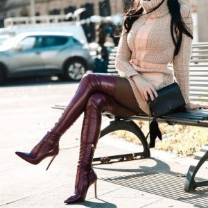 Maroon Thigh High Heel Boots Pointed Toe Stiletto Heels Boots
