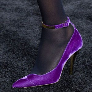 Purple Velvet Heels Pointy Toe Stiletto Heel Ankle Strap Pumps
