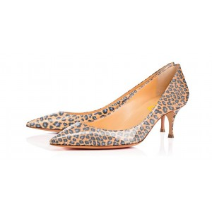 Women's Orange Kitten-heel Leopard Print Heels Pumps