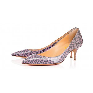 Viola Purple Leopard Print Heels Kitten Heels Pointy Toe Pumps