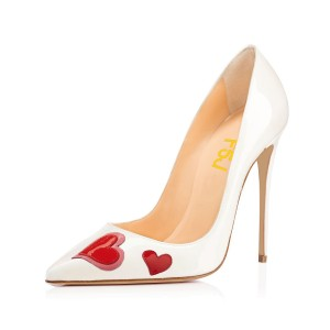Women's White Stiletto Heels Pointy Toe Heart Shaped Patent Leather Pumps