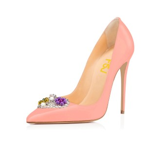Pink Rhinestone Heels Patent Leather Pumps for Office Ladies