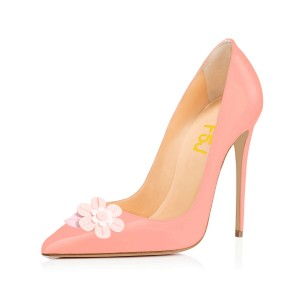 FSJ Pink Stiletto Heels Floral Pointy Toe Pumps for Female