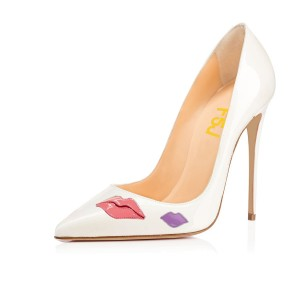White Lips Floral Heels Patent Leather Pointy Toe Stiletto Heels Pumps