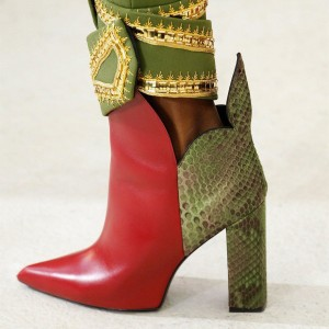Red and Green Snakeskin Booties Pointy Toe Chunky Heel Ankle Boots