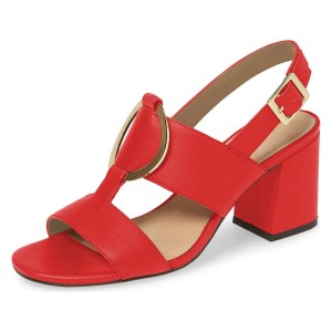 Red Block Heels Slingback Sandals