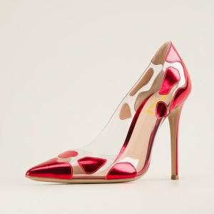 Red Clear 4 Inch Heels Pumps High Heels for Women