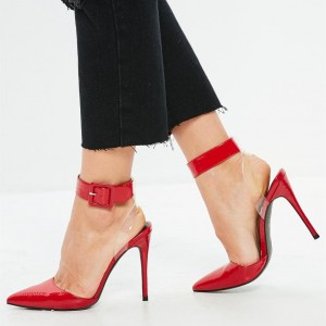 Red Clear Heels Ankle Strap Pointy Toe Stiletto Heels Slingback Pumps