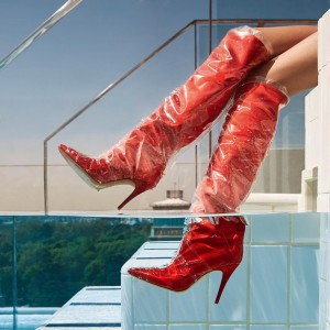 Red Clear PVC Wrapped Stiletto Boots Square Toe Knee-high Boots