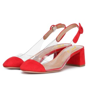 Red Clear Slingback Block Heels Pumps