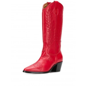 Red Cowgirl Boots Block Heel Knee High Boots