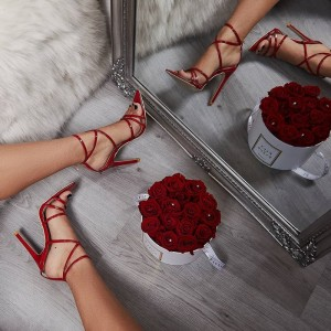 Red Cross Over Stiletto Heels Strappy Sandals