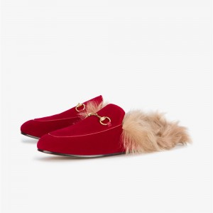 Red Furry Women's Loafer Mules