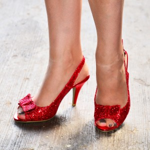 Red Glitter Shoes Bow Slingback Cone Heel Sandals