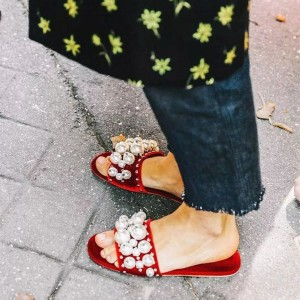 Red Jeweled Sandals Flats