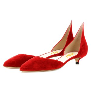 Red Kitten Heels Pointy Toe Pumps Fashion Suede Shoes