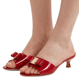 Red Patent Leather Bow Kitten Heels Mule Sandals