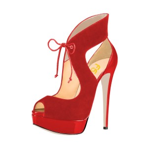 Red Platform Sandals Lace up Key Hole High Heel Shoes