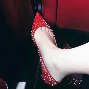 Red Pointy Toe Flats Rivets Comfortable Flats Fashion Shoes