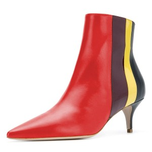 Red Pointy Toe Kitten Heel Boots Multicolor Stripes Ankle Booties