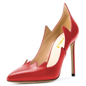 Red Pointy Toe Stiletto Heel Pumps Sexy Pumps