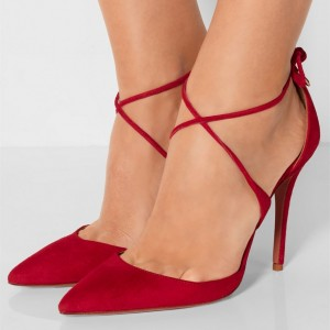 Women's Red Strappy Heels Pointy Toe Stilettos Pumps