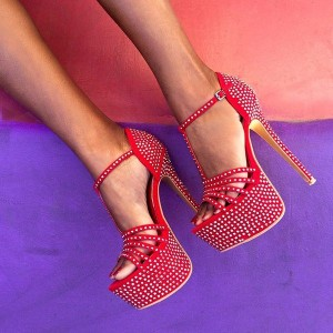 Red Rhinestone T-strap Sandals Stiletto Heels Platform Sandals