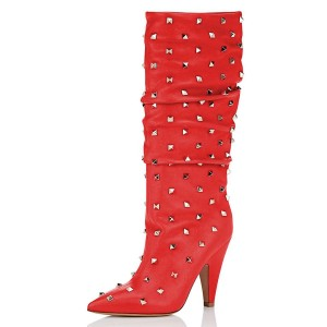 Red Rockstud Cone Heel Fashion Boots Mid-calf Boots for Women